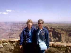Connie Neyman Unger and Kathee Neyman St Vincent at the Grand Canyon, 2008(?)